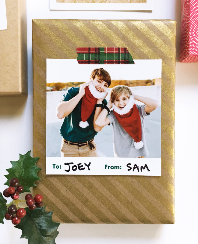 gift tags with collage prints
