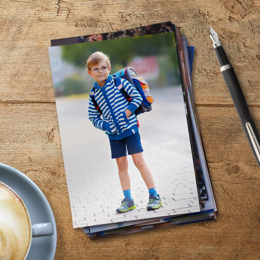 Create multiple prints of your child looking adorable in their new school clothes on the first day of school.
