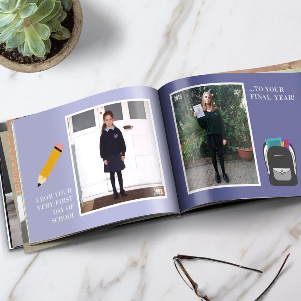 Place older school photos next to the latest school photos of your child for a priceless photo book.