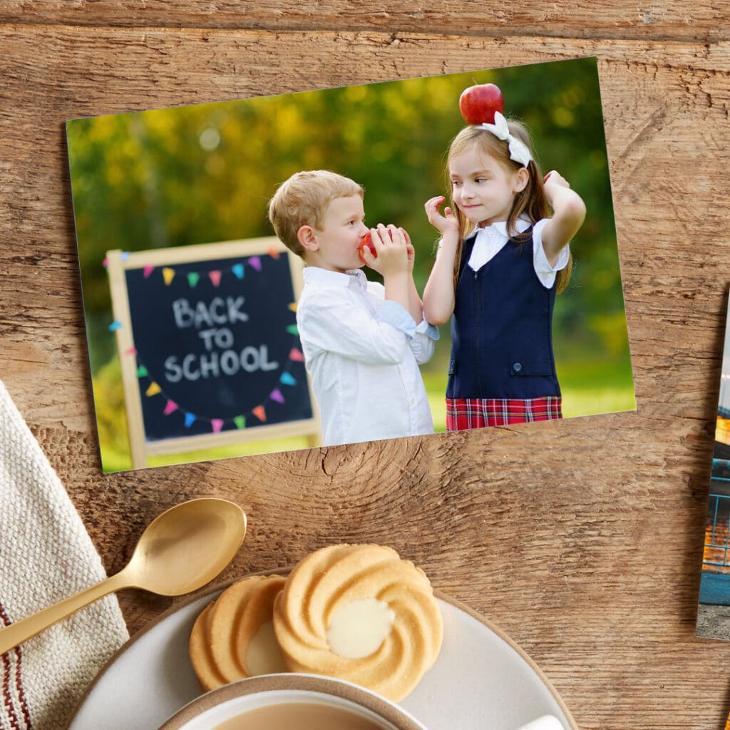 Create and share multiple prints of your children in their school gear or uniforms with playful props.