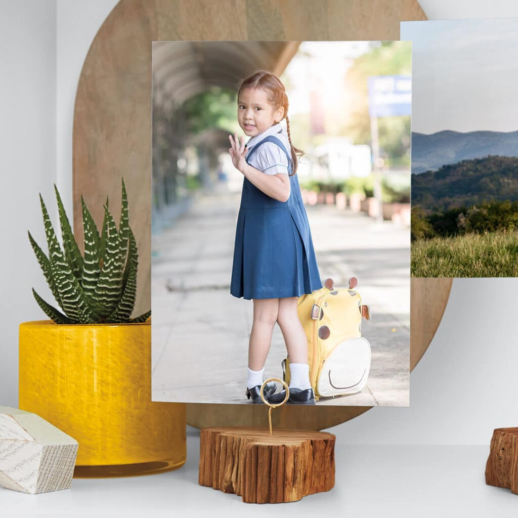 Capture and print a poignant portrait of your child leaving for their first day of school.