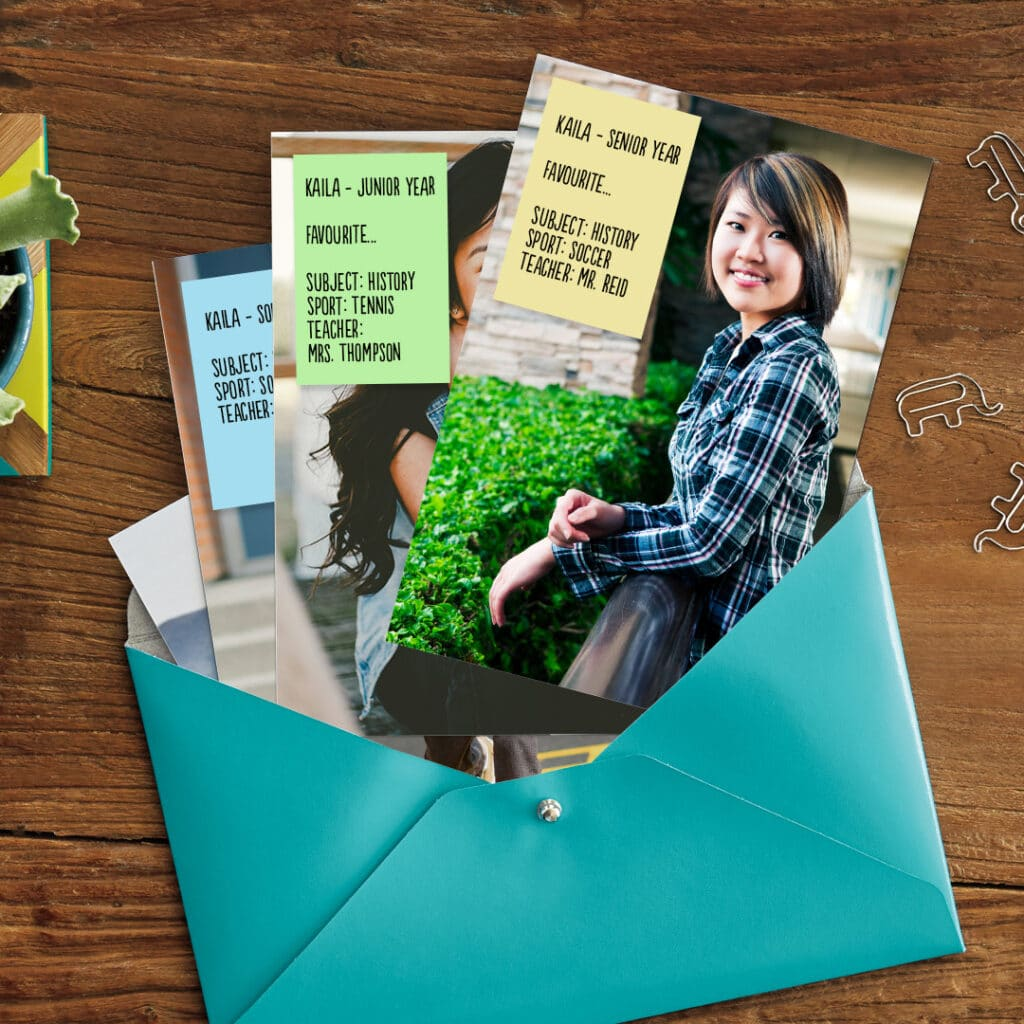 Create custom cards with your child's best school photos and a list of their favourites!