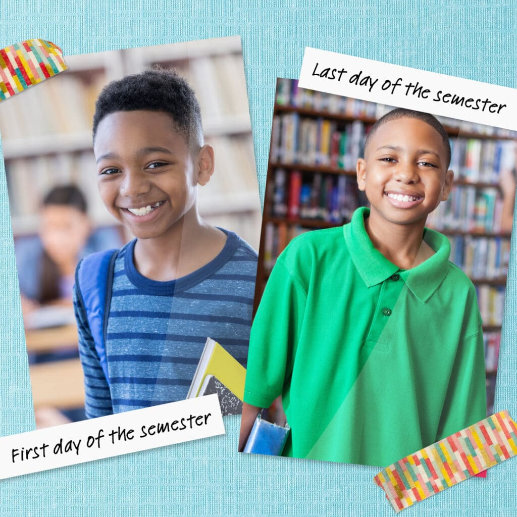 Decorate your wall or fridge with side-by-side prints of your superstar on their first and last day of school.