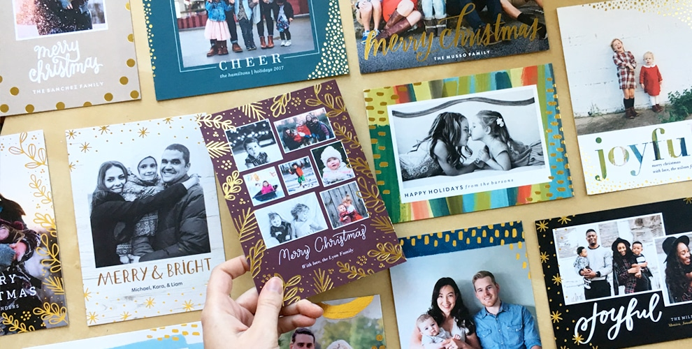 introducing new gold foil stamped christmas holiday cards the