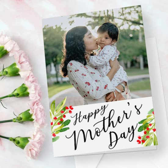 Red Flowers Mother's Day card design