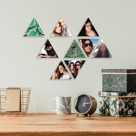 DIY Photo triangles hanging on the wall over a desk