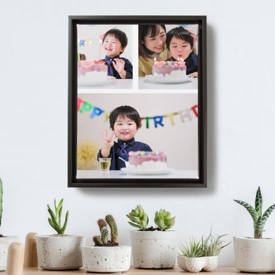 Image of a framed photo collage featuring photos from a child's birthday. The collage is hanging on a wall over a side table full of succulents and cacti.