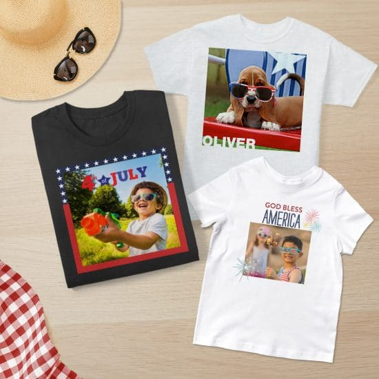 Flat lay image of 3 t-shirts for the family for Independence Day