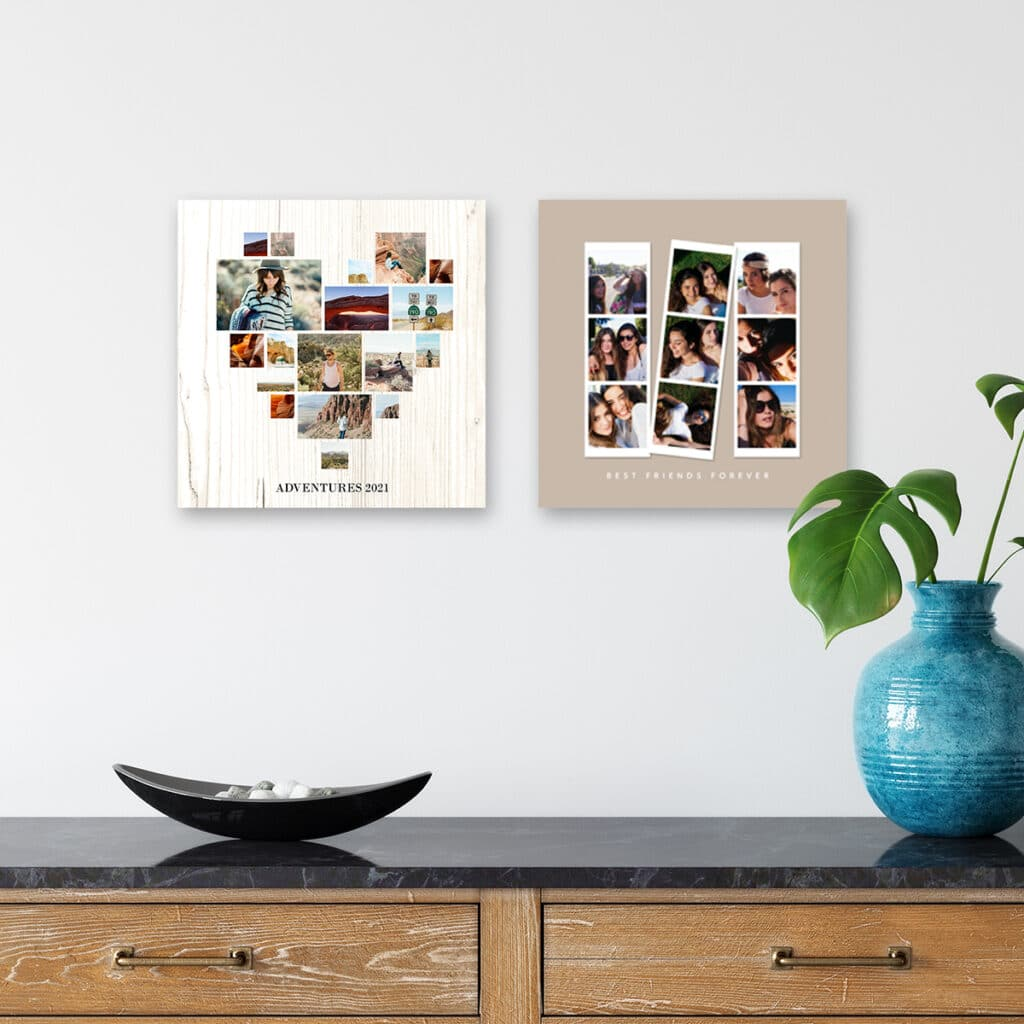 Image of photo tiles hanging on a wall. An entryway table with a houseplant in a vase and decorative tray is in the foreground.