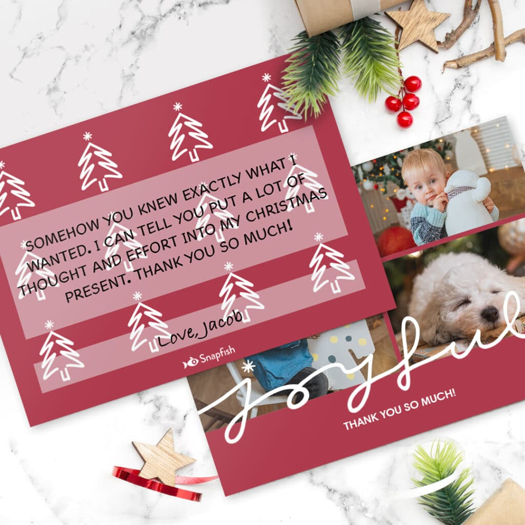 Christmas thank you flat cards