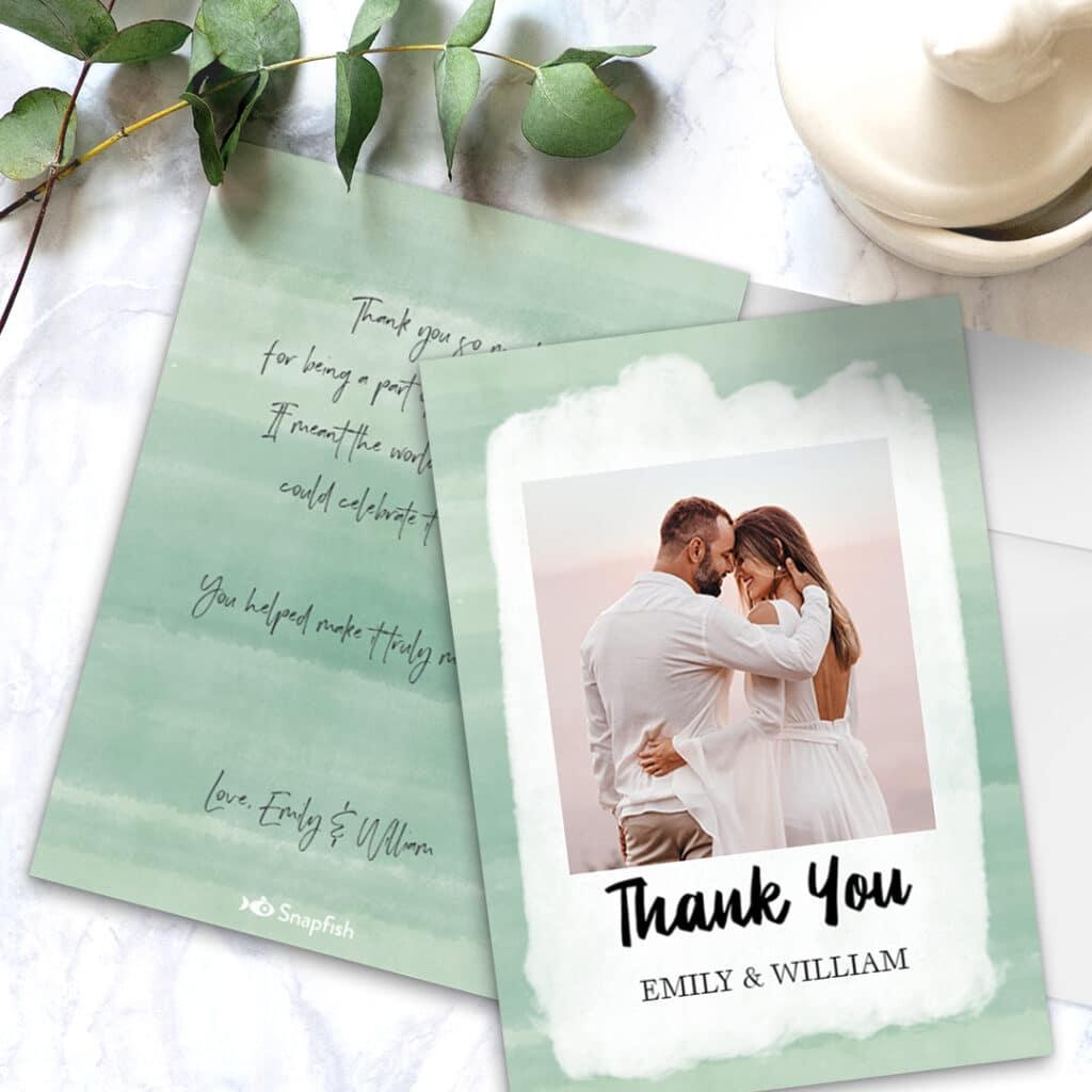 Wedding thank you flat cards