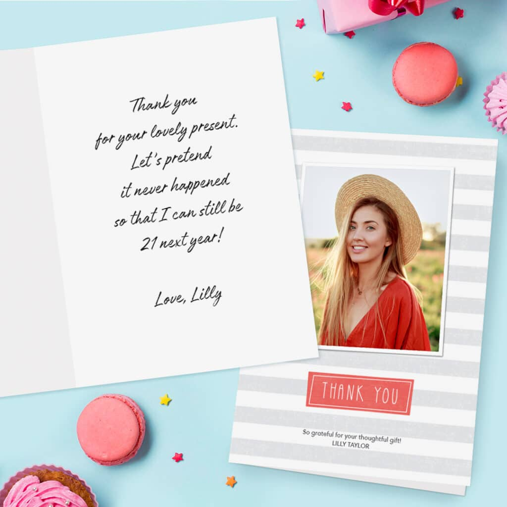 Folded birthday thank you cards